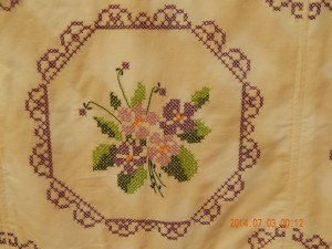 Close-up of Cross Stitched Flowers